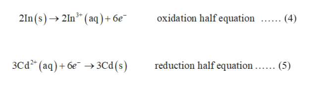 2In(s)2In3 (aq) + 6e"