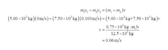 mu,4m = (m, + m, )v (5.00x10 kg)(Om/s)+(7.50x10 kg) (0.100m/s) =(5.00 x 10'kg+7.50x10 kg)v 0.75x10 kg m/s 12.5x10 kg 0.06 m/s 1=