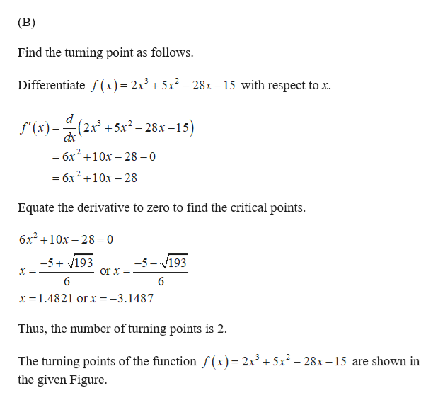 (B) Find the turning point as follows Differentiate f(x) = 2x3 + 5x2 - 28x -15 with respect to x (2x3 +5x2-28x-15) f'(x) =6x 10x-28 0 =6x2 10x-28 Equate the derivative to zero to find the critical points. 6x210x 28= 0 -5-193 -5 193 or x 6 6 x 1.4821 or x =-3.1487 Thus, the number of turning points is 2 The turning points of the function f (x)= 2x3 +5x2 -28x -15 are shown in the given Figure.