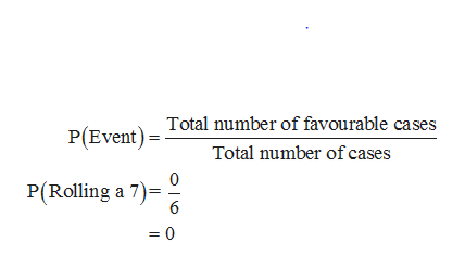 P(Event) Total number of favourable cases Total number of cases P(Rolling a 7) 6 =0
