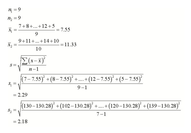 9 п, 3D9 7+8+..12+5 _ 55 9 9+11 14 10 = 11.33 10 Σ-s) п-1 (7-7.55) +(8-7.55) +. .+(12-7.55)+(5-7.5s) _ 9-1 = 2.29 (130-130.28)+(102-130.28) +..+(120-130.28) +(139-130.28) _ 7- = 2.18
