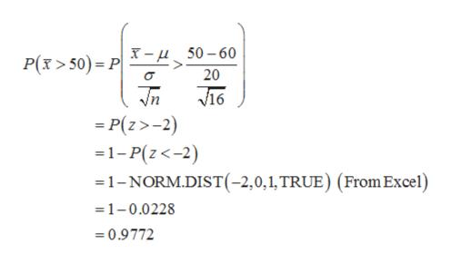 - 50-60 20 P(x>50) P Tn V16 =P(z>-2 1-P(z<-2) 1-NORM.DIST(-2,0,1, TRUE) (From Excel) =1-0.0228 0.9772