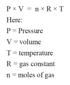 P x V n x R x T Here: P Pressure V volume T temperature R gas constant n moles of gas