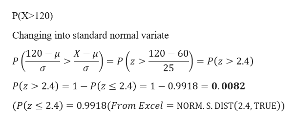 P(X>120) Changing into standard normal variate 120 60 120 P (an0-2-210-)- P(z> 2.4) = Pz > > P(z > 2.4) 1 - P(z < 2.4) 1 - 0.9918 = 0.0082 (P(z 2.4) 0.9918(From Excel = NORM. S. DIST(2.4, TRUE))