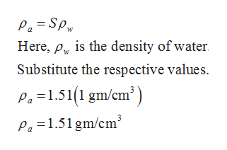 Pa=Sp Here, py is the density of water Substitute the respective values Pa=1.51(1 gm/cm Pa 1.51 gm/cm3