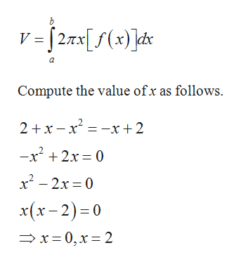 h V =[27x[f(x) ]ds a Compute the value ofx as follows. 2 x-x x+2 -x2 2x 0 x2-2x 0 x(x-2) 0 x-0,x 2