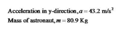 Acceleration in y-direction,a 43.2 m/s Mass of astronaut, m 80.9 Kg