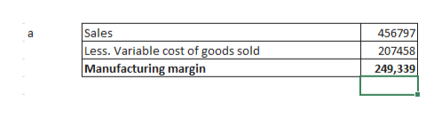 Sales Less. Variable cost of goods sold Manufacturing margin 456797 a 207458 249,339