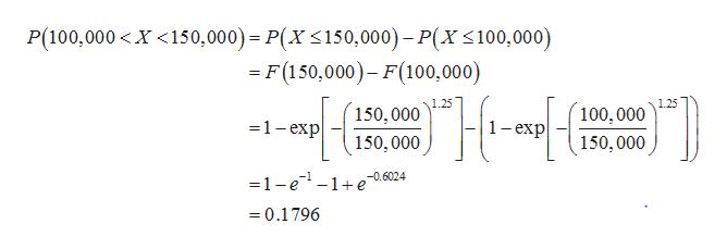 P(100,000< X <150,000)- P(X 150,000) P(X 100,000) = F (150,000)- F(100,000) 1.25 100, 000 150, 000 1-exp 1-еxp 150, 000 150,000 -1-e-1+e -0.6024 =0.1796