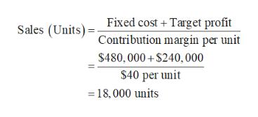 Fixed cost Target profit Sales (Units)Contribution margin per unit $480,000+$240, 000 $40 per unit 18,000 units