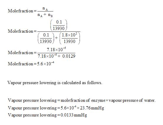 Molefraction . 0.1 13930 Molefraction = 1.8x10 0.1 13930 13930 7.18x10 7.18x100.0129 Molefraction Molefraction5.6 x 10 Vapour pressure lowering is calculated as follows Vapour pressure lowering molefraction of enzymexvapour pressure of water. Vapour pres sure lowering 5.6x10x23.76mmHg Vapour pressure lowering 0.0133 mmHg