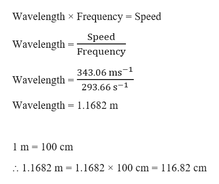 Wavelength x Frequency Speed Speed Wavelength Frequency 343.06 ms 1 Wavelength 293.66 s-1 Wavelength 1.1682 m 1m 100 cm 1.1682 m 1.1682 x 100 cm = 116.82 cm