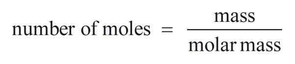 mass number of moles molar mass