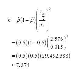 n p(1-p E 2.576 (0.5)(1-0.5)0.015 (0.5)(0.5)(29,492.338) 7.374