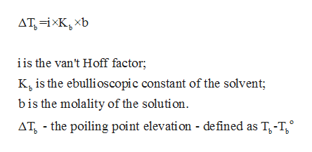 ATiKxb is the van't Hoff factor; K is the ebullioscopic constant of the solvent bis the molality of the solution AT the poiling point elevation - defined as T-T