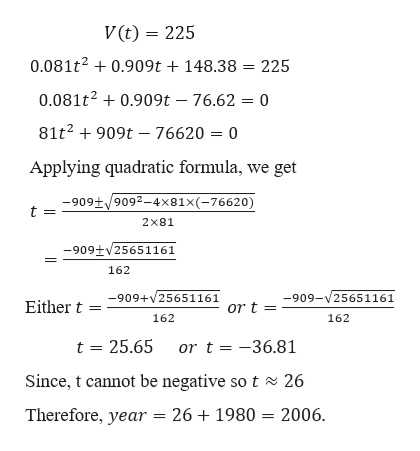 V(t) 225 0.081t20.909t + 148.38 225 0.081t20.909t - 76.62 = 0 81t2909t-76620 = 0 Applying quadratic formula, we get -909+/9092-4x81x(-76620) t = 2x81 -909tv25651161 162 -909+25651161 o -909-25651161 Either t r t = 162 162 t 25.65 ort =-36.81 Since, t cannot be negative so t 26 26 1980 2006 Therefore, year =