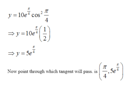 y 10e cos 4 1 y10e 2 y 5e - Now point through which tangent will pass. is , 5e 4