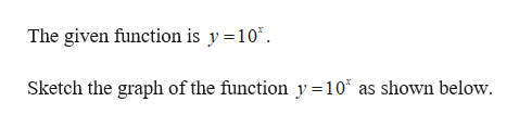 The given function is y =10* Sketch the graph of the function y =107 as shown below.