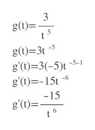 3 g(t) t 5 g(t)=3t g(t)3(-5)t5-1 g'(t)15t -6 -15 g'(t)