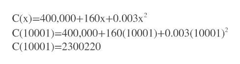 C(x) 400,000+160x+0.003x2 C(10001) 400,000+160(10001)+0.003(10001) C(10001)-2300220