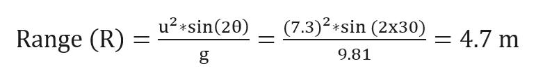 (7.3)2*sin (2x30) u2sin(20) 4.7 m Range (R) 9.81