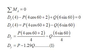 ΣΜ,-0 D, (4)-P(4 cos 60+2)+Q(6sin 60) = 0 D,(4) P(4cos 60+2)-Q(6 sin 60) P(4 cos 60+2) (6sin 60) -Q Dy Dr P-1.29. )
