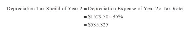 Depreciation Tax Sheild of Year 2 = Depreciation Expense of Year 2x Tax Rate =$1529.50x35% = $535.325