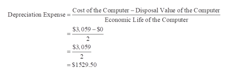 Cost of the Computer Disposal Value of the Computer Depreciation Expense Economic Life of the Computer $3,059-$0 2 $3,059 2 = $1529.50