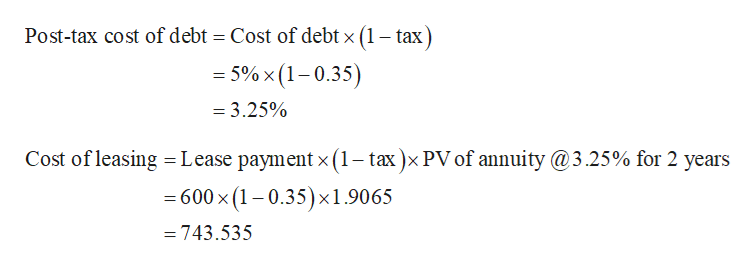 Post-tax cost of debt = Cost of debt x (1 - tax = 5%x (1-0.35) = 3.25% Cost of leasing = Lease payment x(1- tax)x PV of annuity@3.25% for 2 years 600 x (1-0.35) x1.9065 743.535
