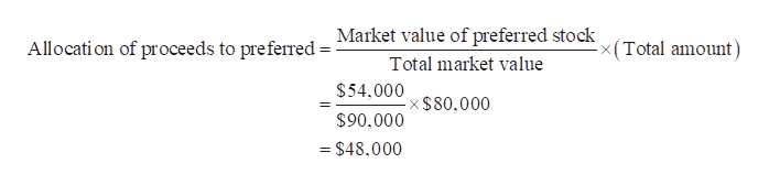 Market value of preferred stock <(Total amount) Allocati on of proceeds to preferred Total market value $54.000 -x$80,000 $90.000 = $48,000