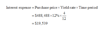 Interest expense Purchase pricex Yield rate x Time period =S488,488x12%x- 12 =$19,539