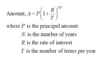 NT Amount, A P1+ T where P is the principal amount N is the number of years R is the rate of interest T is the number of terms per year