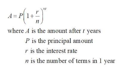 nt A = P1 п where A is the amount after t years P is the principal amount r is the interest rate n is the number of terms in 1 year