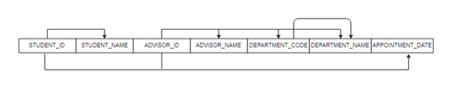 STUDENT NAME ADVISOR ID ADVISOR NAME DEPARTMENT_CODE DEPARTMENT_NAME APPOINTMENT DATE STUDENT ID