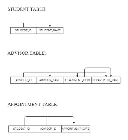 STUDENT TABLE STUDENT_ID STUDENT_NAME ADVISOR TABLE ADVISOR_ NAME DEPARTMENT_CODE DEPARTMENT_NAME ADVISOR_ID APPOINTMENT TABLE: APPOINTMENT DATE STUDENT ID ADVISOR ID