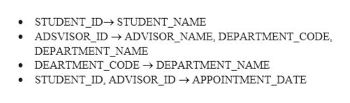 STUDENT_ID- STUDENT_NAME ADSVISOR_ID ADVISOR_NAME, DEPARTMENT_CODE, DEPARTMENT_NAME DEARTMENT_CODE -DEPARTMENT_NAME STUDENT_ID, ADVISOR_ID -» APPOINTMENT_DATE
