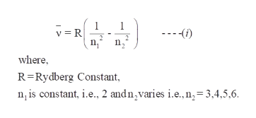 where R Rydberg Constant n, is constant, i.e., 2 andn,varies i.e.,n,-3,4,5,6