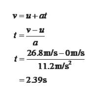 =u+at a 26.8m/s-0m/s 11.2m/s =239s