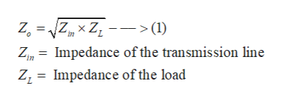 > (1) in Zin= Impedance of the transmission line ZI Impedance of the load