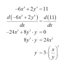 -бх* + 2у %3D11 d(-6x* +2у') d(1) dc -24х* +8y -у -0 8y' у 3D24х° х у 3- с