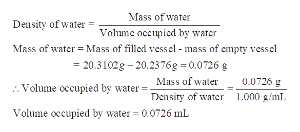 Mass of water Density of water = Volume occupied by water Mass of water = Mass of filled vessel - mass of empty vessel = 20.3102g 20.2376g 0.0726 g Mass of water 0.0726 g . Volume occupied by water Density of water 1.000 g/mL Volume occupied by water = 0.0726 mL