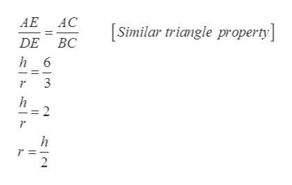 АЕ АС Similar triangle property] DE BC h 6 3 h = 2 h 2