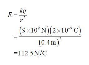 kq E = (9x10'N)(2x10 C) (0.4m) =112.5N/C 2