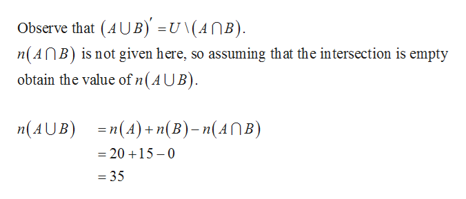Observe that (AUB) =u \(AnB) n(AnB) is not given here, so assuming that the intersection is empty obtain the value of n(AUB) nAUB)(A)+n(Bn(ANB) =20 15-0 = 35