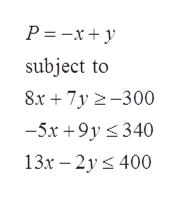 P =-x+y subject to 8x 7y 2-300 -5x+9y 340 13x 2y 400