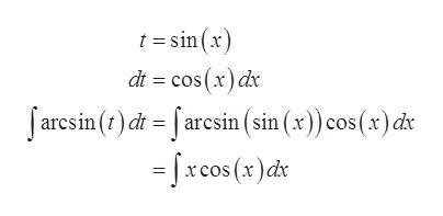 tsin(x) dt cos (x) dx Jarcsin() d =aresin (sin (x)) cos (x) d -fx cos (x)d
