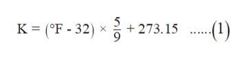 K (F- 32) x 273.15 .(1)