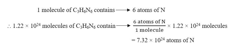 1molecule of C3HN6 contains 6 atoms of N 6 atoms of N . 1.22 x 1024 molecules of C3HN6 contain- x 1.22 x 1024 molecules 1 molecule = 7.32 x 1024 atoms of N