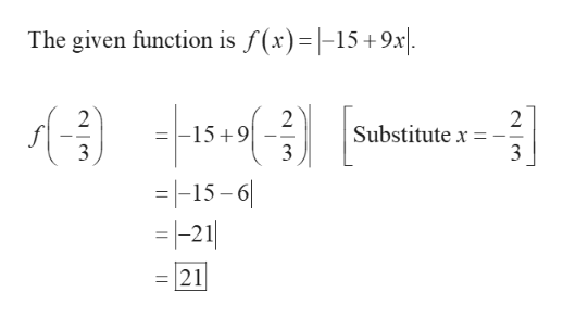 The given function is f(x)=|-15 +9x\ 2 2 -15 9 3 2 Substitute x 3 3 =-15-6 =-21 21