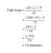 (H-L)xN Takt time (480-30)x3 75 450x3 75 1,350 75 18 minutes